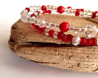 Red and Clear Crystal Rondelle and Round Beads, Quartz, Stretch Bracelet, 1-day processing