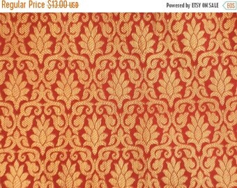 15% off on One yard of Indian brocade in red and gold/Benarasi brocade/ Indian sari fabric/ Dress ,costume fabric