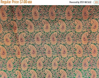 15% off on Half yard of green gold  indian brocade in a paisley design/Indian sari fabric/costume fabric/doll clothes fabric