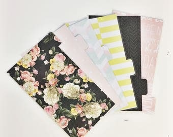 Double Sided Personal Sized Laminated Dividers For Filofax Medium Kikki-k Planner Bold Vintage Floral Pastel Hearts Black and Pastel Inspire