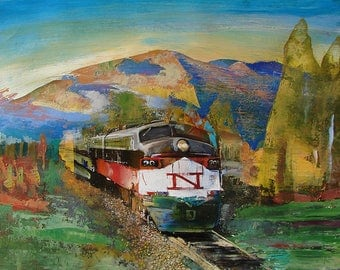 Train painting oil on wood panel-NTrain - 11 x 14 inches, Trains, Railroad art, Train art
