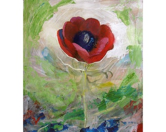 Original Oil Painting on paper, Flower painting, Original Flower painting,  Fleur 29 -  11 by 14 inches