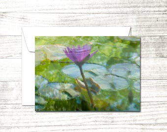 Pink Water Lily Note Card | Blank Greeting Card | Zen Photo Card | Card for Yogi | Yoga greeting card