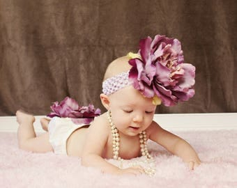 Newborn Photo Outfit, Mauve and Lavender Peony Bloomer & Headband Set, Baby Girl Photo Outfit, Newborn Girl Photo Prop, Birth Announcement