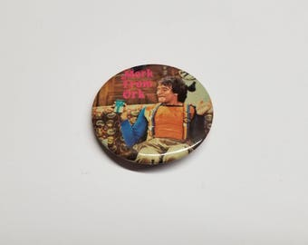 Vintage Flare Mork from Ork pin back button, Mork and Mindy, Vintage Robin Williams 1970's