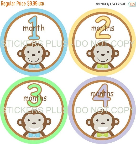SALE Baby Month Stickers Baby Boy Monthly Milestone Stickers Cute Jungle Monkey Face - 1-12 M Nice Shower Gift Photo Prop Nursery Decor