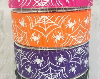 "1.5"", Wicked Spiders, Spider Web Ribbon, US Designer Ribbon, Halloween Ribbon, White Spiders, Spiders, Halloween Hair Bow, Per Yard"