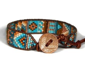 Bead Loom Bracelet Blue Turquoise Orange Chaos Tribal Boho Bracelet Aerieannas Wristcraft Bohemian Jewelry