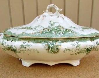 circa 1900 oval covered vegetable dish with gold gilt marlborough johnson brothers england genuine antique