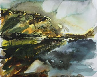 Loch Buie in fading autumn light on the East Side of Mull at 56 degrees North, landscape, west coast of Scotland, Northern Skies, ink