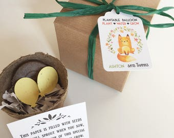 25 Woodland fox baby shower favors -  Plantable seed paper favors - Boxed personalized favors - assembly required