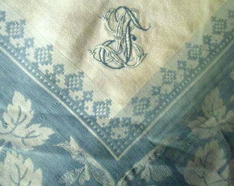 Square Damask Linen Tablecloth with Embroidered Monogram