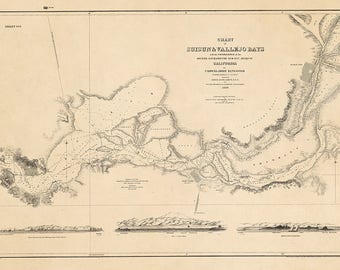 1850 Nautical Chart of Suisun and Vallejo Bays