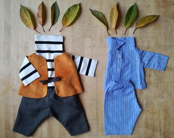 Boyish Autumn Outfit for little stuffed creatures, Boy's set, Sweater, Pants, Vest, Pyjamas for stuffed toys