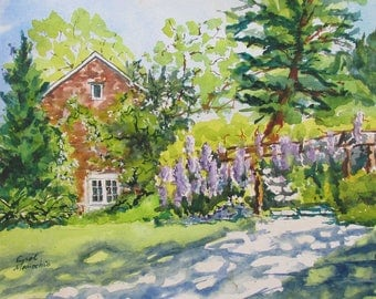 Wisterias in Bloom at the Willowood Arboretum  in Northwest New Jersey - an Original Watercolor 12 by 16 inches