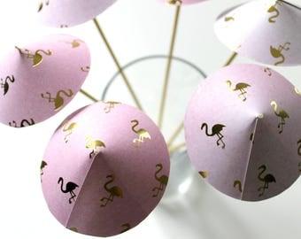 Flamingo Pink Drink Umbrellas, Tropical Party, Wedding Decor