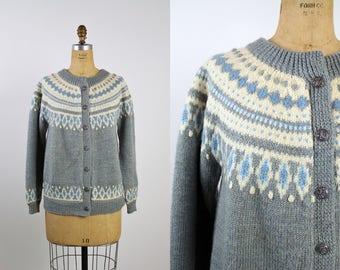 60s Fairisle Sweater / Vintage Nordic Cardigan / Norwegian Knit /  Knit Cardigan Sweater/ Unisex/ Size M/L