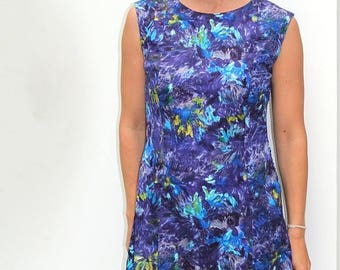 50%DISCOUNT 60s purple blue abstract floral sleeveless shift dress S