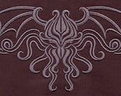 RESERVED for Kristen - Damask Cthulhu Embroidered Bath Sheet