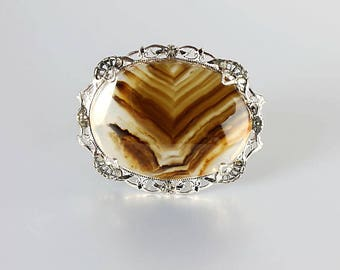 Banded Agate Edwardian Brooch, Art Deco jewelry Sterling silver Filigree, Mocha Brown Cream, Chevron design