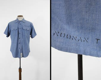 Vintage US Navy Chambray Shirt Stenciled Short Sleeve Blue Button Up - Men's Large