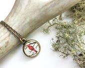 Small Cardinal Art Pendant, Bird Watcher Necklace, Loved One Reminder, Red Bird, Bird Pendant, Bird Gift, Cardinal Necklace