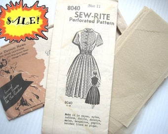 SALE! vintage mail order dress pattern, Unprinted Pattern. Uncut Sew-Rite perforated pattern with envelope, 1950s shirtwaist dress, Size 11