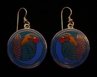 Laurel Burch MYNAH BIRD Earrings Gorgeous Royal Blue