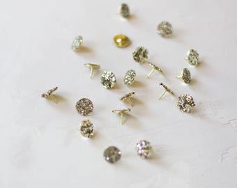 Champagne Glitter Gold Metal Thumb Tacks - 20 pc