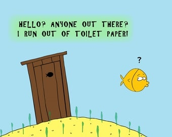 Cartoon with a Fish and Outhouse on the ocean bottom
