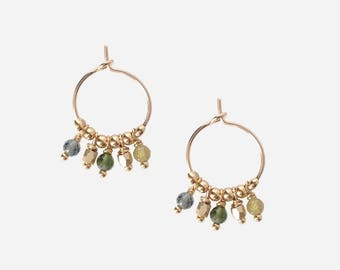 Gold plated earrings with tourmalines