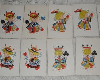 12 Cards  Vintage Bridge Tallies Gibson Queens With Hearts Spades Clubs and Diamonds Paper Ephemera