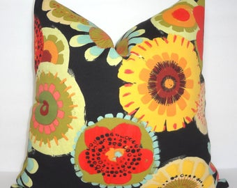 OVERSTOCK OUTDOOR Black Yellow Red Green Sunflower Summer Colors Pillow Cover Patio Decor Size 18x18