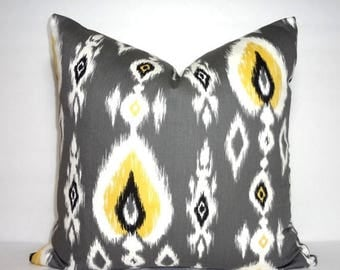 FALL is COMING SALE Yellow Black Grey Ikat Print Pillow Cover Decorative Ikat Design Pillow Cover Size 18x18