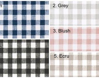 NEW Plaid Pillow Cover Navy Black Blush Ecru Grey Denim Slub Checked Pillow Covers Choose Size