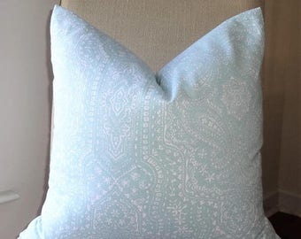 SPRING FORWARD SALE New P. Kaufmann Baby Blue White Paisley Geometric Pillow Cover Home Decor by HomeLiving Size 18x18