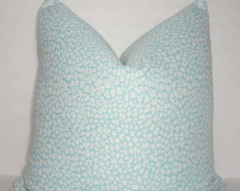 SPRING FORWARD SALE Decorative Animal Print Pillow Cover Leopard Aqua Blue White Pillow Cover Leopard Print Throw Pillow Cover 18x18