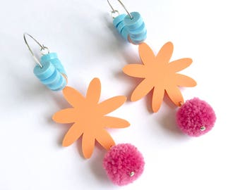Happy Flora Hoops - Apricot Blue Dusty Pink Pom Pom Acrylic - Laser Cut Flower Hoop Earring - Each To Own Original