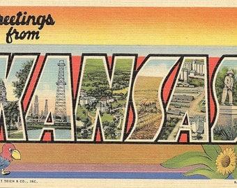 Kansas - Large Letter Postcard - Vintage Postcard - Unused (NNN)