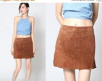 HUGE SALE Vintage 90s Suede Leather Mini Skirt