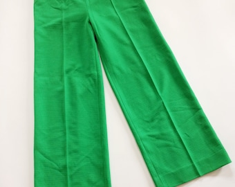 70s Wide Leg Pants // High Waist Trousers // Green Palazzo Pants
