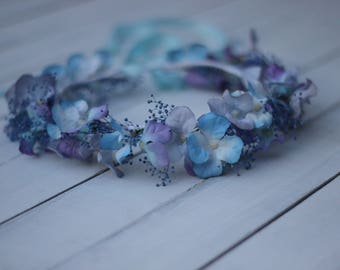 Blue floral crown,maternity prop.,toddler accessories blue and purple floral