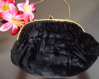 Black Velvet Purse Antique Small Evening Bag with Gold Ball Clasp and Chain Strap
