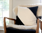 Custom Pillow/Ivory/Black/BrassZipper/Zigzag Studio Design