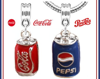 CoKE or PePSI LoVER? - Your Choice of 3D Coca COLA or Pepsi Cola - Enamel, Silver Plated Dangle Charm Beads - fits European Bracelets - MD-E