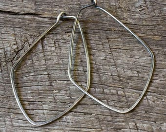 Sterling Silver Petal Hoops, Oxidized Silver Hoops, Simple Hoop Earrings, Long Hoop Earrings, Every Day Earrings, Hammered Hoop Earrings