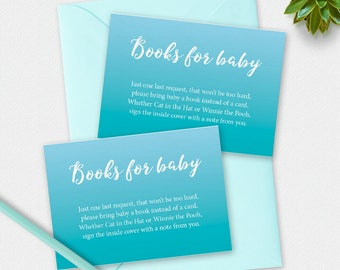 Printable books for baby card, baby shower games, blue boy book card, aqua books for baby card, baby book card, 3.5 x 2.5 inch, bring a book