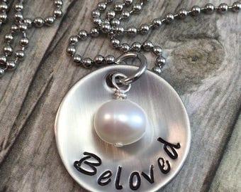Beloved necklace, handstamped and domed stainless steel