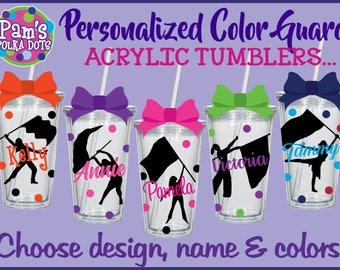 Personalized COLOR GUARD Clear Acrylic TUMBLERS w/ Name Flag & Girl Silhouette Polka Dots Flag Squad Marching Band