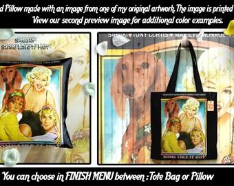 Saluki Pillow or Tote Bag/Saluki Art/Saluki Portrait/Dog Tote Bag/Dog Pillow/Dog Art/Custom Dog Portrait/Some Like It Hot Movie Poster